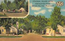 Colonial Village Motel Salt Lake City, Utah Roadside Ut Vintage Postcard c1940s