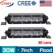 Cree 2X 7inch 30W LED Slim Single Row Light Bar FLOOD Lamp Truck UTV 4WD SUV Fog