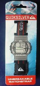 Bracelet montre de sport bracelet scrach Quiksilver Neuf  Noir Trait Rouge