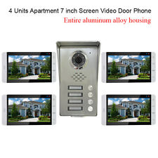 "4 Units Apartment Visual intercom Kits 7"" Video Door Phone doorbell Alloy Camera"