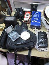Photography job lot vintage lens, flash, binoculers, case,35mm camera ods & sods