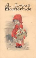 Easter~Cute Lil Girl in Sunbonnet Drops Eggs From Basket~Chicks Hatch~Handcolor