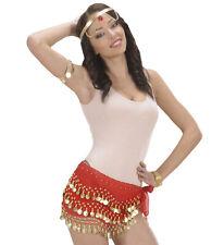 Tuch rot mit Münzen Münztuch Wahrsagerin Zigeunerin Fasching Karneval Hüfttuch