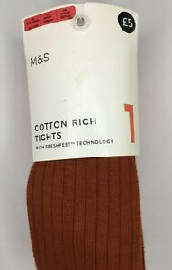 Marks & Spencer Girls Toffee Cotton Rich Tights RRP £5 in ages 5 up to 10