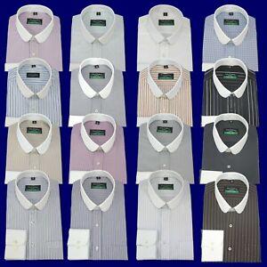 Club collar Bankers shirt Stripes Checks Round Penny White collar Mens Easy Iron