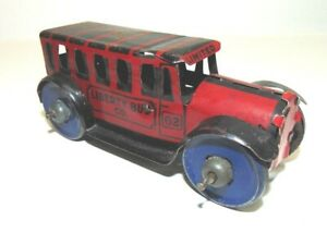 Vintage Marx Red & Black Liberty Bus Tin Toy-1930s.-Lithographic-Good Condition