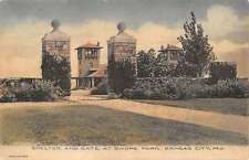 shelter and gate at swope park kansas city missouri L4780 antique postcard