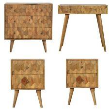 Scandinavian Carved Bedroom Set Bedside Tables, Chest Of Drawers & DressingTable