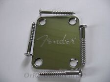 Chrome Fender style NECK PLATE mit Fender Logo Guitar/Bass/ 4 x Screw