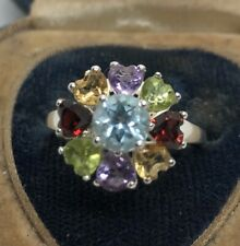 Sterling Silver Ring Size 7 STS Signed Flower Gemstone Amethyst Peridot Garnet