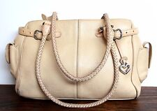 VINTAGE BRIGHTON IVORY BEIGE GENUINE LEATHER ROOMY SHOULDER BAG HANDBAG TOTE