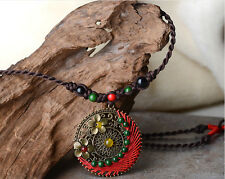 Long Brown Rope Copper Flowers with Colourful Agate Bead Round Shaped Pendant