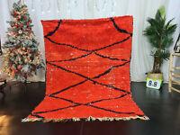"""Moroccan Tribal Vintage Handmade Rug 4'9""""x6'5"""" Geometric Red Black Wool Carpet"""