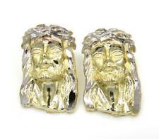2.80 Grams Mens Ladies 10k Real Yellow Gold Crown Jesus Earrings Studs