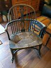 Antique 1900's Karpen Furniture Mahogany Windsor Back Rocker Tweed Rush Seat