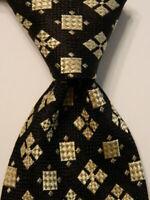 ALLURE Men's 100% Silk Necktie ITALY Designer Geometric Black/Ivory/Tan EUC Rare