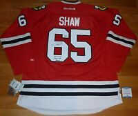 BECKETT ANDREW SHAW CUP INSCRIBED SIGNED BLACKHAWKS REEBOK AUTHENTIC JERSEY 1574