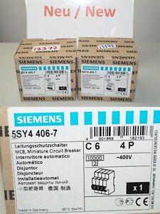 Siemens 5SY4406-7 Miniature Circuit Breaker 5SY44 MCB C6 4P