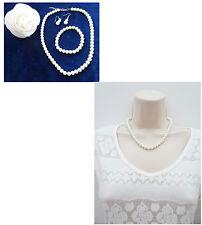 Nupcial Marfil Collar de Perlas Pulsera Y Colgantes Pendientes Joyería Set para Baile de graduación