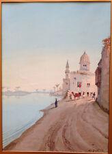 Napoleon Girotto Watercolor on Paper Orientalist Riverbank Town Scene