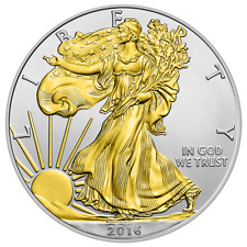 1 Dollar 2016 Silver Eagle Walking Liberty USA 1 Oz. Silver Coin with Gold  UNC
