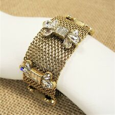 Fossil Mesh Glitz Wide Bracelet Glass Crystal Gold Tone Metal Magnetic Clasp