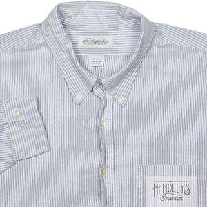 BROOKS BROTHERS Shirt 20-35 in Lake Blue Cotton University Stripe Oxford OCBD US