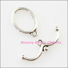 6Sets Tibetan Silver Smooth Oval Circle Bracelet Toggle Clasps Connectors