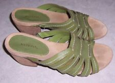 "MERONA Green Strappy Sandals Slides Open Toe 3"" Heels Womens Shoes Size 9M"