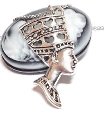 "NEFERTITI_Pendant on 18"" Chain Necklace_Queen Egypt Cleopatra Pharaoh Pyramid"