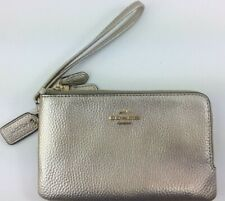 New Authentic Coach F23260 Leather Double Corner Zip Wristlet Platinum Gift Box
