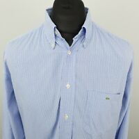 Lacoste Mens Vintage Shirt 43 XL Long Sleeve Blue Classic Fit RELAXED Check