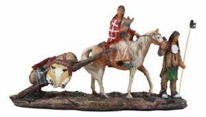 """Native American Indian Aborigine Family Unit Pilgrimage On Horse Figurine 8.25""""L"""
