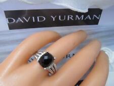 David Yurman Sterling Silver Petite Black Onyx & Diamond Wheaton Ring Size 7.5