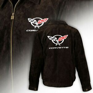 Mens C5 Corvette Extra Long Length Suede Bomber Jacket- BROWN 604813