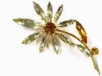 VINTAGE LARGE DAISY FLOWER GOLD TONE BROOCH FOILED LEMON AMBER CITRINE PASTE