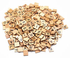 Lot of 300 Wood Scrabble Tiles Wooden Black Numbers Letters Board Game Crafts
