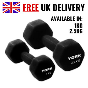York Neoprene Dumbbells Black Weights Home Gym Fitness  Exercise Iron Hand