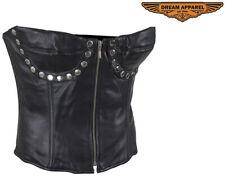 Women's Studded Black Leather Corset Soft Lambskin