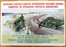 1955 Soviet Russia Original Russian POSTER TRAFFIC SAFETY DON'T OVERSPEED