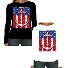Velocitee Ladies Long Sleeve T-Shirt American Flag & Anchor Rockabilly W17740