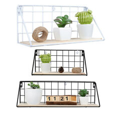 Wall Mounted Metal Wire Wood Basket Shelf Floating Shelves Kitchen Storage Rack