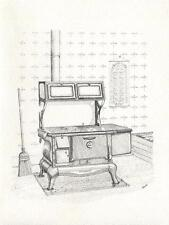 VINTAGE COUNTRY KITCHEN OLD COAL WOOD COOKING ANTIQUE STOVE OVEN BROOM ART CARD