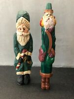 2 Pencil style Santa Claus Folk Art Christmas Figurines Green