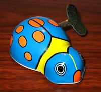 Vintage TIN LITHO BLUE LADY BUG BEETLE WIND UP TOY MINT Condition