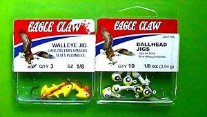 LOT OF 2 - EAGLE CLAW 1/8oz CHRT GLW BALLHEAD JIG 10ct/CHRT ORNG WALLEYE JIG 3ct