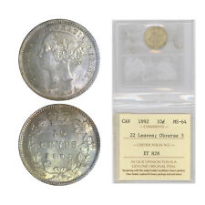 10 Cents Canada 1892, Small 9; Obv. 5 Graded by ICCS