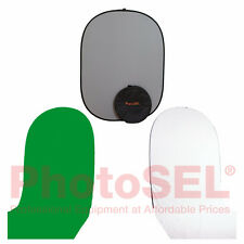 PhotoSEL BD215A Grey Collapsible Background with White & Chroma Key Green Train