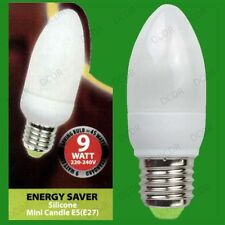 2x 9W Low Energy Power Saving CFL Candle Light Bulbs, ES E27 Edison Screw Lamp