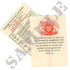 Reproduction - WW2 MEDAL AWARD CERTIFICATE (ARMY)